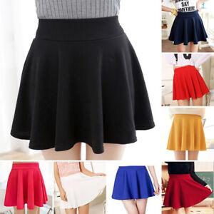 US-Women-Tennis-High-Waist-Plain-Skater-Flared-Pleated-Mini-Short-Skirt-Shorts
