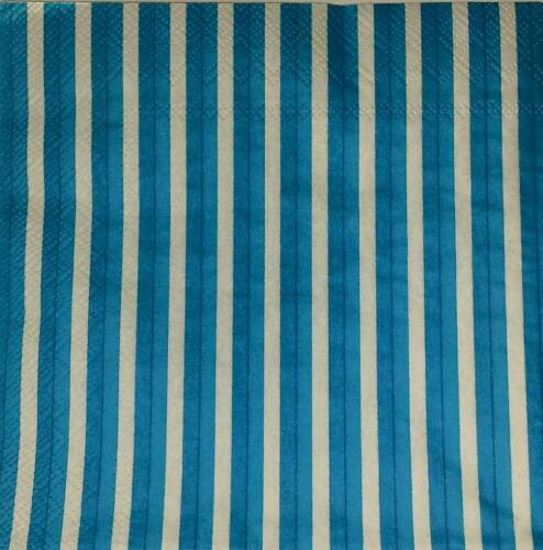 4 x Single Paper Napkins Decoupage Crafting  Party Blue Stripies 20xx