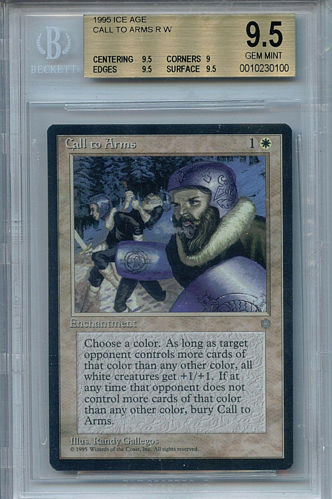 MTG Ice Age Call to Arms BGS 9.5 Gem Mint Magic Card Amricons 01200
