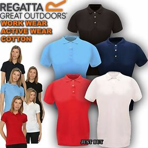 Regatta-Polo-T-Shirt-Womens-Classic-Cotton-Tee-Outdoor-Hiking-Work-Gym-Sport-Top