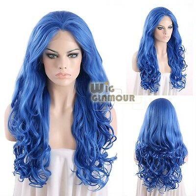 """Long Curly Wavy 26"""" Blue Lace Front Wig Heat Resistant"""