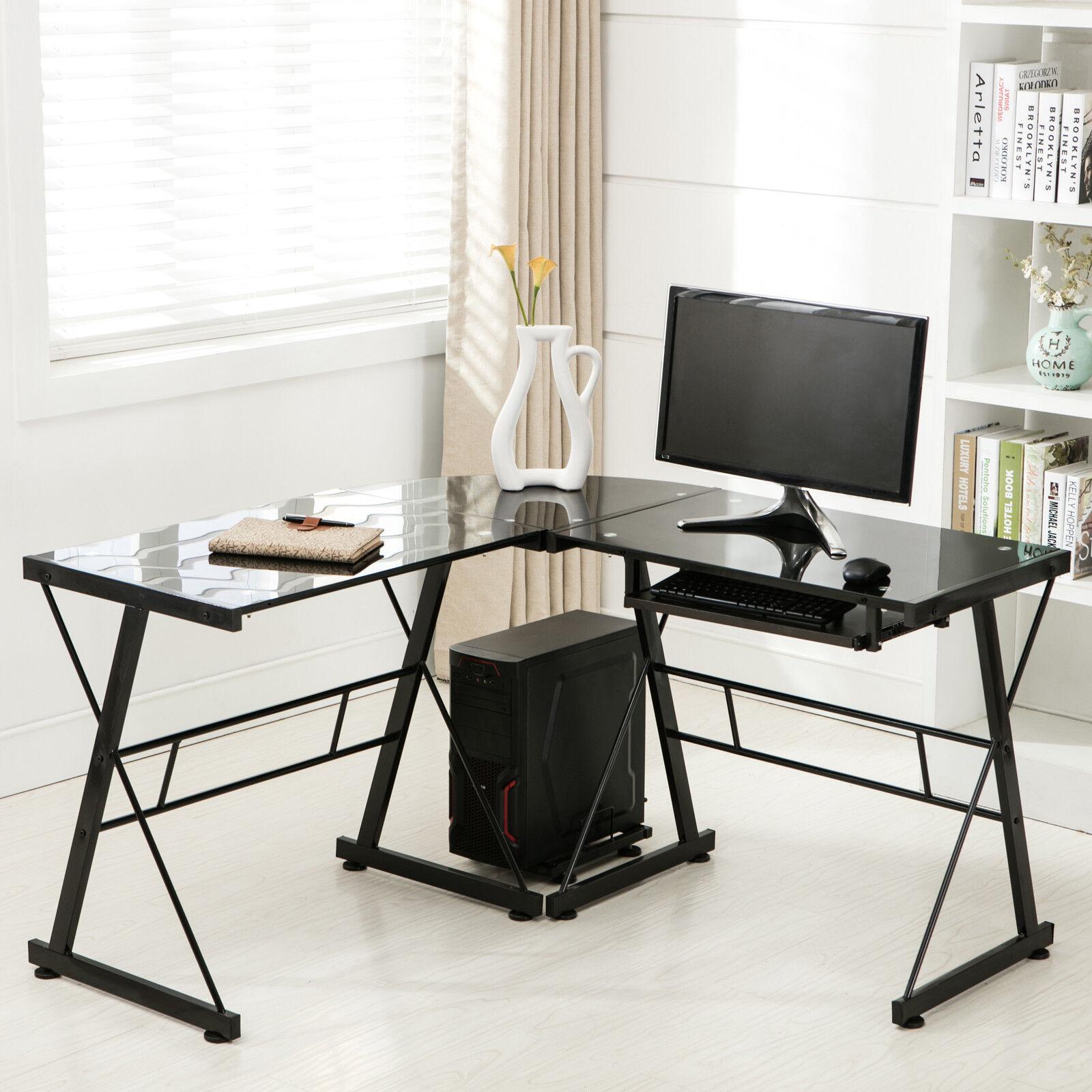 L-Shape Computer Desk Glass Corner Laptop PC Table Workstation Home Office  Black