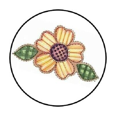 """48 COUNTRY FLOWER POT DAISIES ENVELOPE SEALS LABELS STICKERS 1.2/"""" ROUND"""