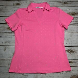 ac3891a3aa7f4 Lady Hagen Pink Polka Dot Short Sleeve Collar V-Neck Golf Polo Shirt ...
