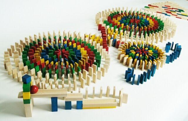 830 Dominosteine bunte Bausteine Holz Bauklötze Holzklötze Holzbausteine Domino.