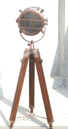 Hollywood Maritime Nautical Spotlight Floor Copper Lamp Wooden Tripod Stand Gift