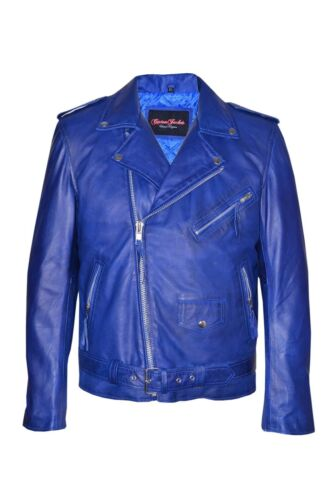 Classic New Real Leather Motorcycle Style Biker Nappa Jacket Brando Blue Men's EEpqBC