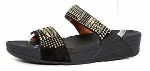 28a2b768d19 Image is loading Fitflop-Aztec-Chada-Slide-Sandals-Gold-Black-Women-