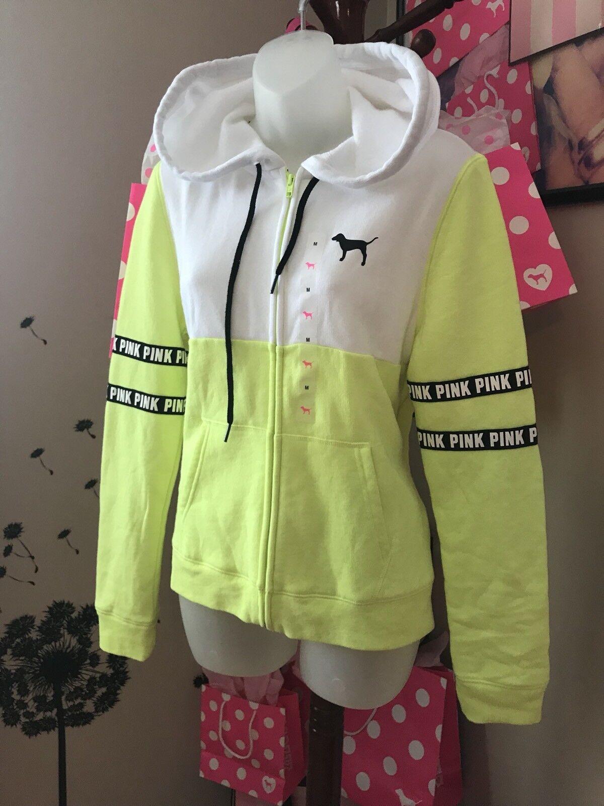 NWT Victorias Secret Full Zip Hoodie Yellow White Size M Pink Logo