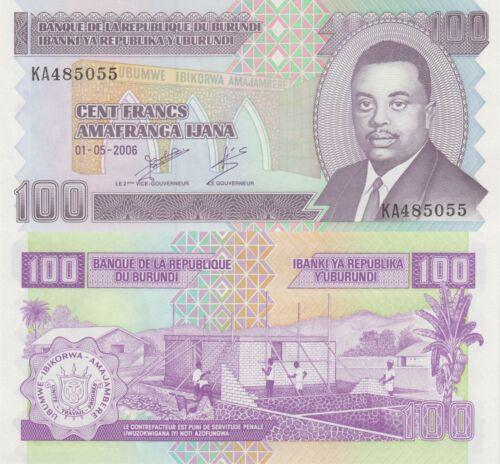 p37e x 5 PCS UNC LOT 01.05.2006 Burundi 100 Francs