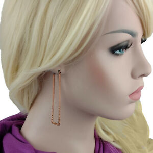 "Ky & Co Rose Gold Tone Pierced Hoop Earrings Rectangle Loop Flat Hammered 3"" USA"