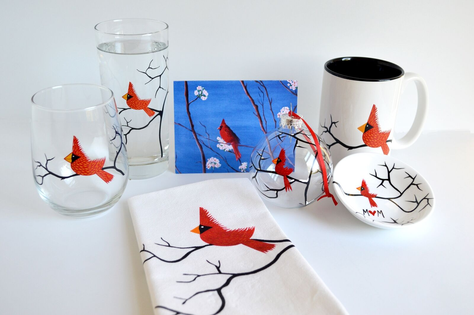 Christmas Cardinal Gift Set Collection - 7 Piece Personalized Gift Set