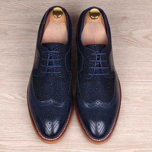 New Men's Business Formal Breathable lace up oxford Brogue wing tip Dress shoes