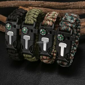 Image Is Loading Paracord Survival Bracelet Whistle Flint Ser Fire Starter