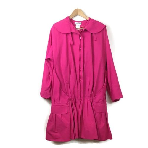 Sonia Rykiel Coat Jacket M Hot Pink Pleated Ruched