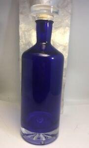 Cobalt Blue Ultimat Crystal Liquor Decanter Bottle Cork Stopper