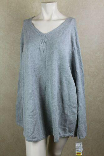 Karen Scott Womens Sweater Heather Gray Size Plus Cable Knit V-Neck /_/_ R10D3