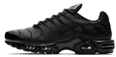 43e11c6112d72 Details about Nike Air Max Plus TN 'Triple Black' Leather AJ2029-001 Men  Shoe 100%Authentic DS
