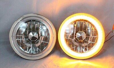 "97-16 Jeep Wrangler TJ JK 7"" AMBER  LED SMD Halo Round Chrome Clear Headlights"
