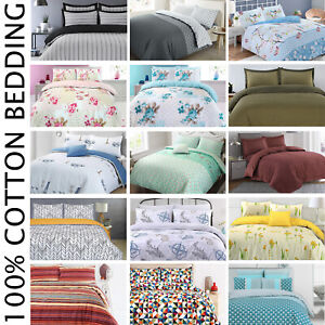 100%Cotton Soft Cosy Duvet Quilt Cover Bedding Set Single Double Super King Size