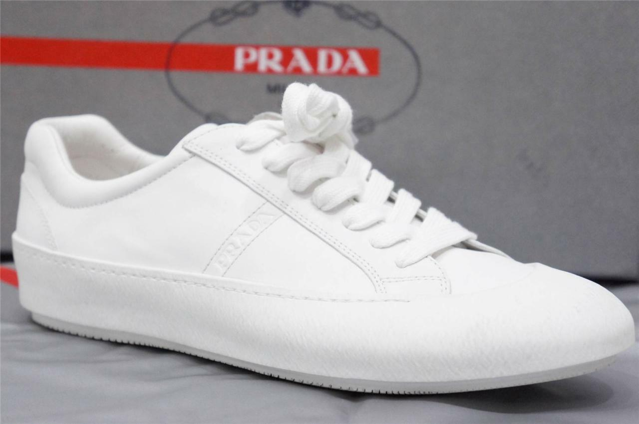 PRADA BIANCA  LOW PROFILE  BIANCA PRADA LEATHER SNEAKERS SCARPE 6 UK/ 7 US  545 cc2510