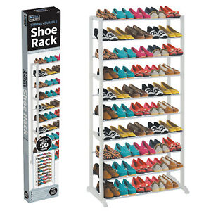 50-SHOE-RACK-10-TIER-STORAGE-ORGANISER-STAND-SHELF-PAIRS-TRAINERS-COMPACT-SPACE