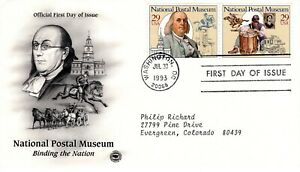 1993-Commemorative-National-Postal-Musee-2-Timbres-Pieces-Cachet-Machine-Addr