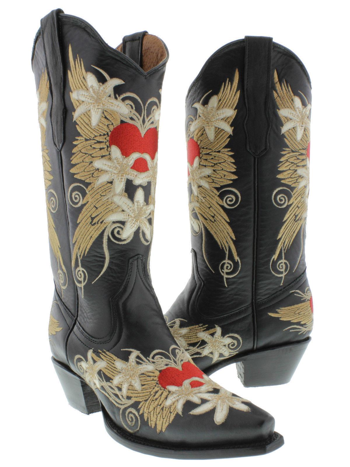 sport dello shopping online donna nero nero nero Wings Heart Embroidered Western Leather Cowgirl stivali Snip Toe  marchio in liquidazione