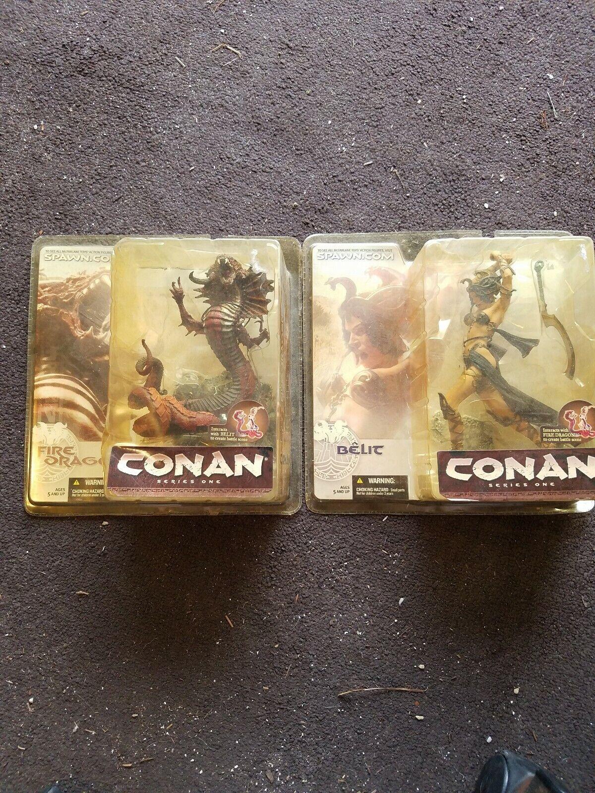 Conan Series 1 Fire Dragon & Belit Figure Set New 2004, FREE SHIPPING