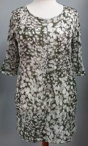 Bluse-Tunika-beige-olive-gemustert-3-4-Arm-Gr-46-Gr-5-von-Zeitlos-by-Luana