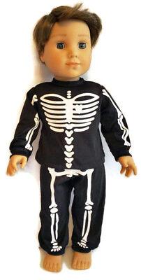Doll Clothes fits American Girl Black Skeleton Pajamas Boy Logan HALLOWEEN