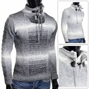 Men/'s Funnel Neck Sweater Wool Thick Knit Regular Fit Ribbed Warm Jumper NEW
