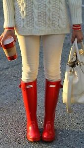 Details about NEW Womens HUNTER Tall Original RAIN Waterproof BOOTS Military Red Gloss Size 8