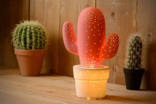 dekorative Tischleuchte Kaktus rosa weiß E14 H30,5cm Ø20cm Cactus Lucide Lampe