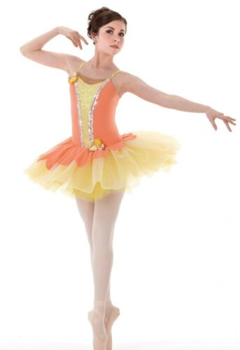 Morning Glory Dance Costume Coral Peach Camisole Ballet Tutu Adult Large New