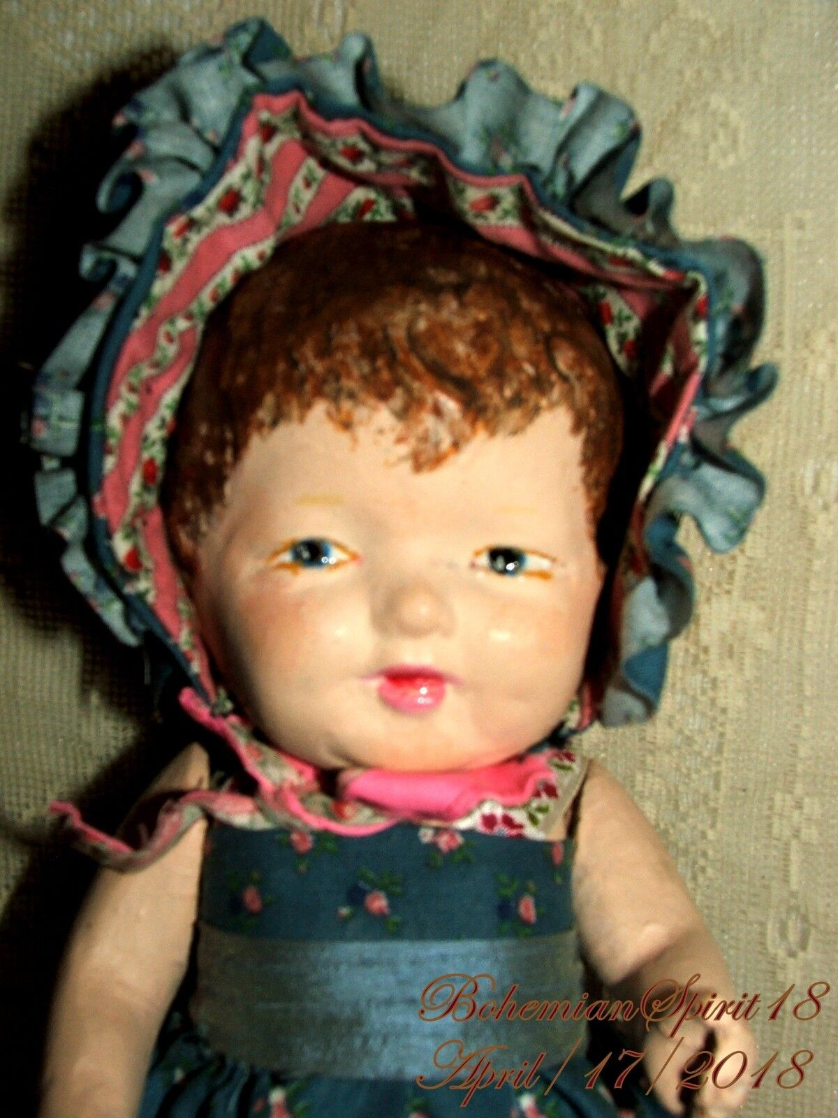 ANTIQUE SIGNED TOY PRODUCTS MFG.CO COMPOSITION GIRL SUN DRESS BONNET 10'' DOLL