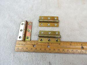 Antique-Matching-set-of-3-Brass-plate-door-cabinet-hinges-1-1-4-034-X-2-034
