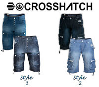 Mens Crosshatch Designer Fashion Denim Jeans Shorts ¾ Cargo Combat Sports