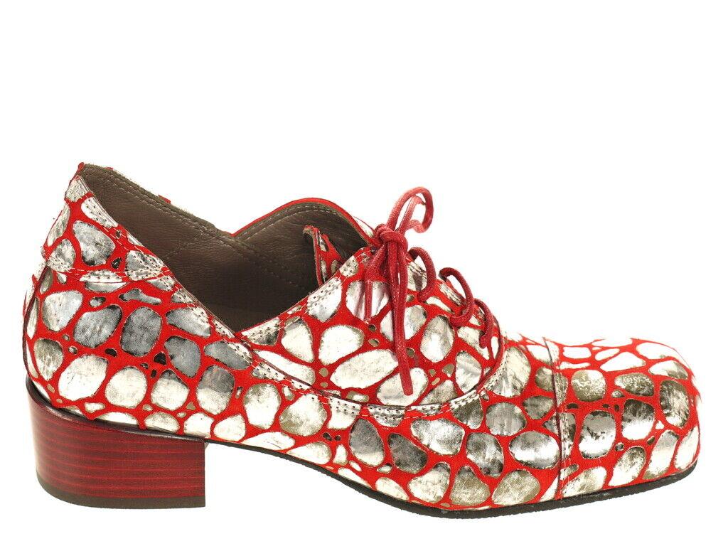 Lisa Tucci Schuhe Halbschuh Art. Modugno rot silber Gr. 37,5 Orginal Neu OVP