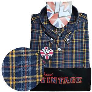 Warrior-UK-England-Button-Down-Shirt-BILLY-HUNT-Slim-Fit-Skinhead-Mod-Retro