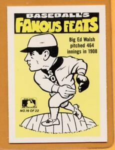 Details About 1986 Fleer Famous Feats Baseball Card 19 Big Ed Walsh