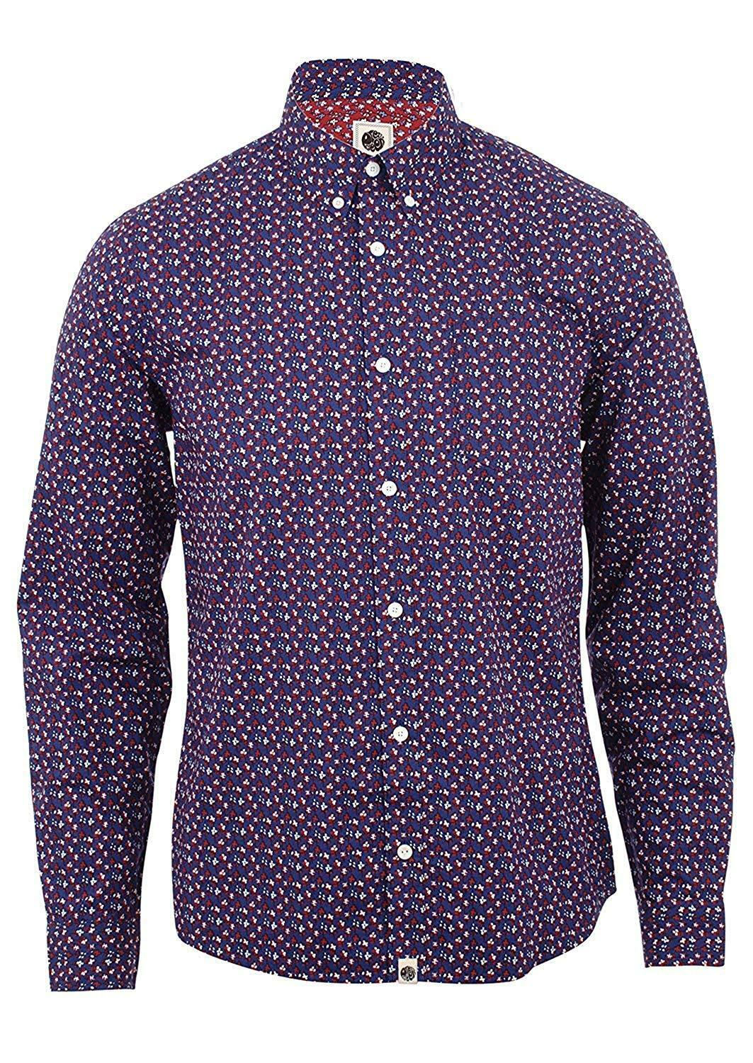 Pretty Green Rindle Long Sleeve Shirt Mid bluee Size Small - RRP