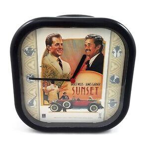 Vintage-Sunset-Movie-Wall-Clock-Bruce-Willis-James-Garner-1988-Promo-Collectible