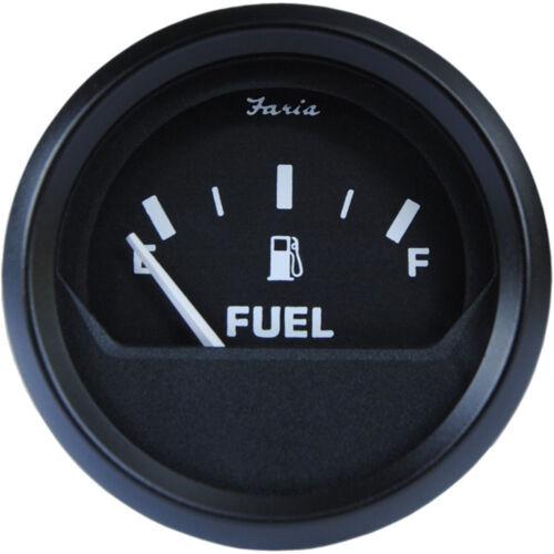 "E-1//2-F Faria Euro Black 2/"" Fuel Level Gauge"