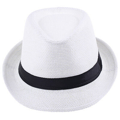 Kids Children Boys Girls Straw Black Band Fedora Trilby Panama Jazz Hats Caps