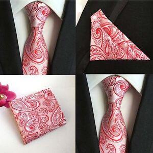 US045 Men Pink Flower Silk Neck Tie Necktie Pocket Square Handkerchief Set Lot