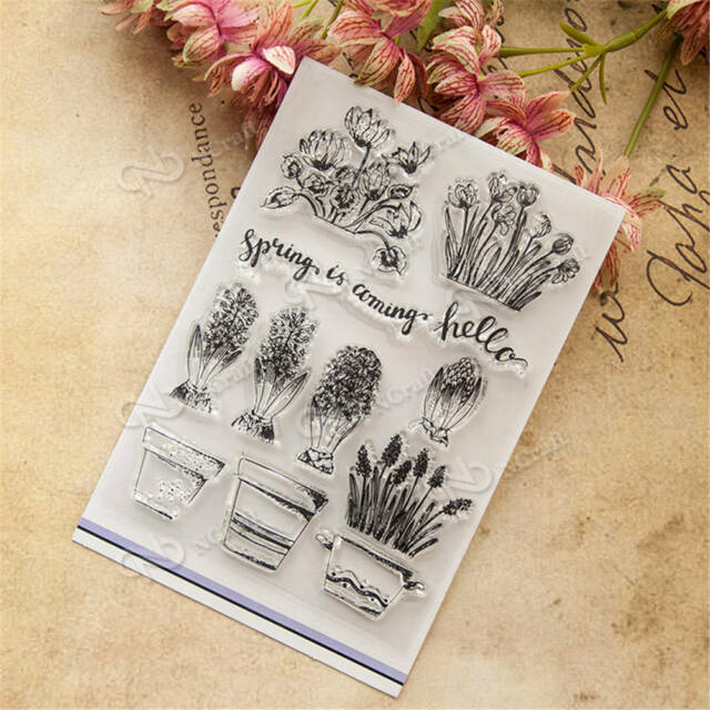 Beautiful Cactus And Flower Pot Rubber Stamp Scrapbooking Photo Decorative H