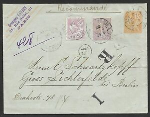 France covers 1903 uprated mixed franked R-cover Paris to Berlin