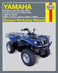 yamaha kodiak grizzly 400 450 600 660 atv quad repair manual 2567 ebay rh ebay com 2005 yamaha rhino 660 owners manual 2005 yamaha rhino 660 owners manual