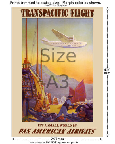6 sizes, matte+glossy avail Pan Am Transpacific Flight Airline Travel Poster